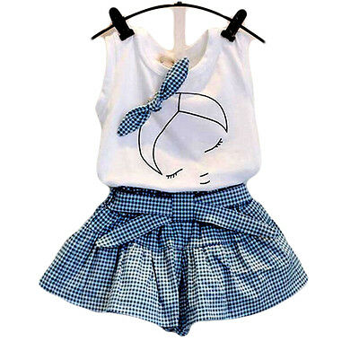 Baby Girls Suits Cute Clothes Sets White T-Shirt And Plaid Blue Pants For Girls