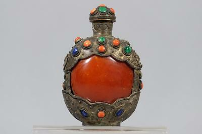 Chinese Silver Snuff Bottle with Amber, Coral, Turquoise and Lapis