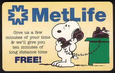10m Snoopy on The Telephone: MetLife Promo (Cute) SPECIMEN Phone Card