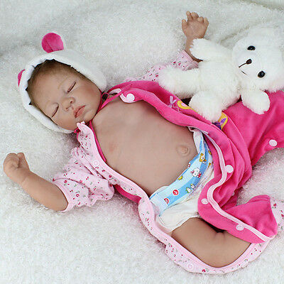 "Sale! Lifelike Baby Girl Doll 22"" Silicone Vinyl Reborn Newborn Dolls Hot Gifts"