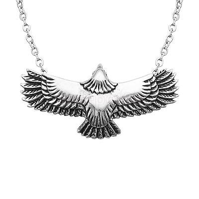Vintage Style Flying Eagle Necklace Pendant for Men Silver Plate Accessories