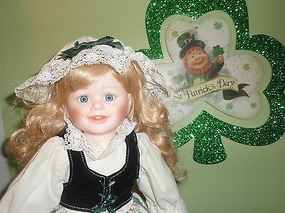Ireland Porcelain Doll Wearing the Green For St. Patrick's Day 16 Inches