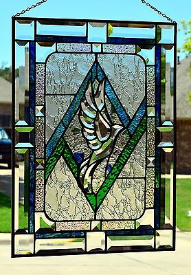 """Stained Glass Window Panel """"Beveled Dove"""""""
