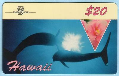 $20. 'Hawaii' Picturing Two Dolphins - Korean Back (3/94) Phone Card