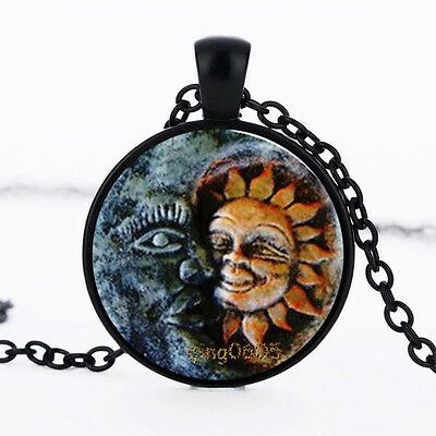 Sun and Moon Photo Glass Dome Necklace black Chain Pendant Necklace
