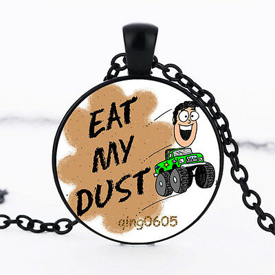 EAT MY DUST Photo Glass Dome Necklace black Chain Pendant Necklace