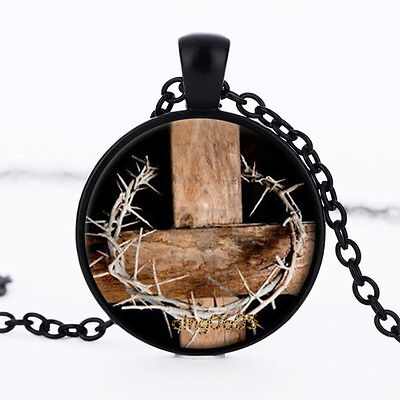 Crown of Thorns Photo Glass Dome Necklace black Chain Pendant Necklaces