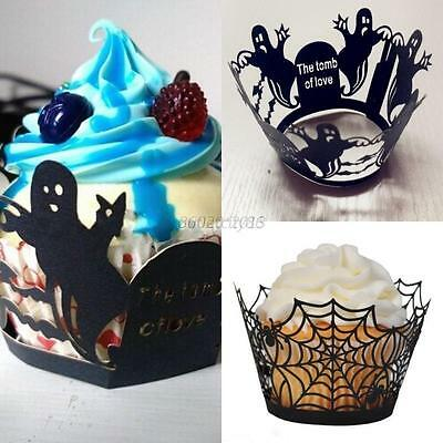 AU 12Pcs Halloween Hollow Spider Ghost Cupcake Case Wrapper Wedding Party Decors