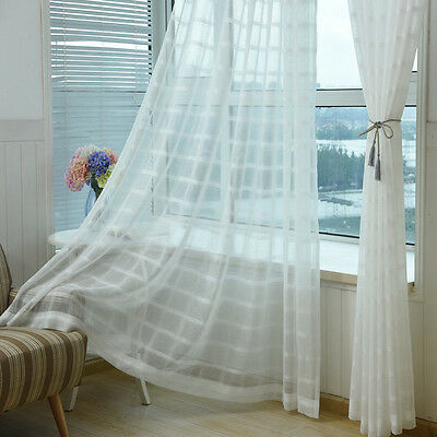 White Tulle Sheer Curtain Panels 63 inch Long Woven Square Design Drape 1 Piece