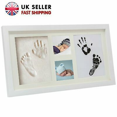 2D&3D Baby Hand and Foot Print Twin Photo Frame Wood Keepsake Shower Christening