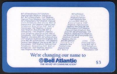 $3. Test Card 'We're Changing Our Name To Bell Atlantic' (Eng & Span) Phone Card