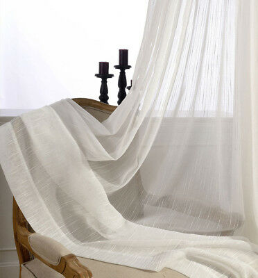 Vertical Stripe Tulle Sheer Window Voile White Curtain Fabric Door Divide 1Panel