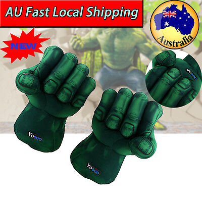 2Pcs Incredible Hulk Smash Hands Plush Punching Boxing Fist Gloves Cosplay Green