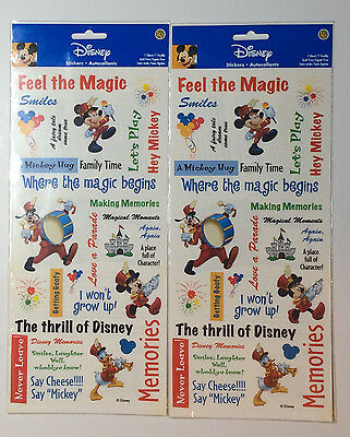Disney Theme Parks Scrapbook Stickers Mickey Memories Vacation Crafts 2 Sheets