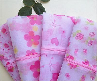 Set of 3 Washing Clothes Laundry Bag FLOWER Fine Mesh Bra Underwear Protection
