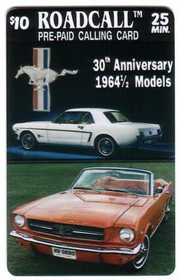 $10. RoadCall Ford Mustang Cars - 30th Anniversary 1964 1/2 Models Phone Card