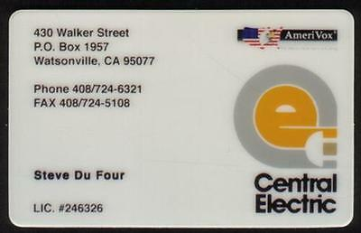 Central Electric: Steve Du Four Business Card (Watsonville CA) PROOF Phone Card