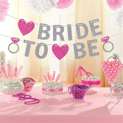 Bride To Be Bridal Shower Glitter Pink Banner Bunting Hen Night Party Decor Cute