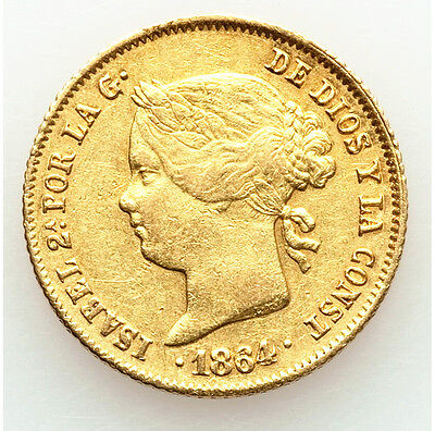 1864 Philippines Isabella II of Spain gold 4 Pesos KM144 Rare Spain Gold Pesos