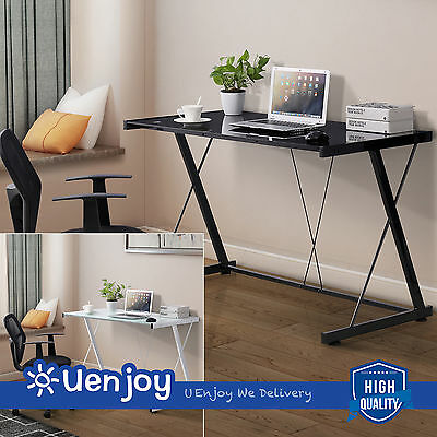 New PC Laptop Glass Table Computer Desk  Workstation Office Home Furniture
