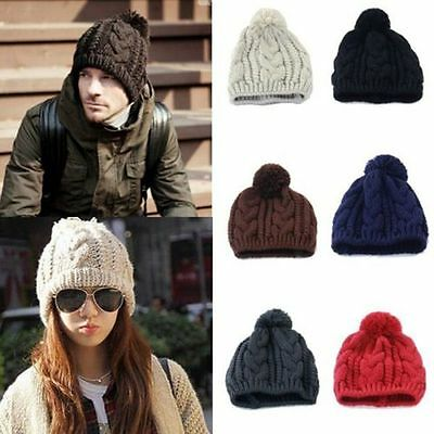 Mens Womens Unisex Winter Beanie Bobble Twist Hat Warm Knitted Oversized HOT