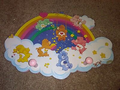 CARE BEARS nursery rack -wooden plaque wall hanging picture baby room decor EUC