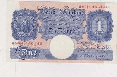 B249 Peppiatt Blue A94H £1 Second World War Banknote In Extremely Fine Condition