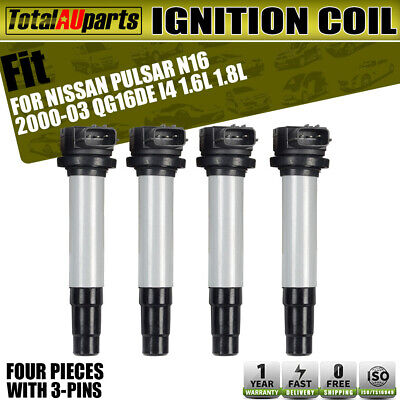 4x Ignition Coils Pack for Nissan Pulsar N16 Sedan 00-03 1.6L 1.8L QG16DE QG18DE