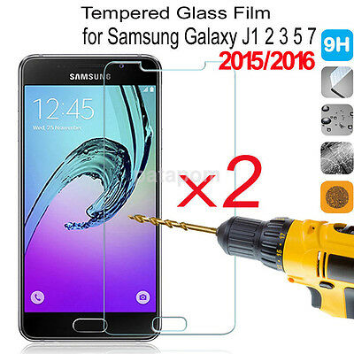 2PCS Tempered Glass Screen Protector Guard Cover HD Film For Samsung J1 2 3 5 7
