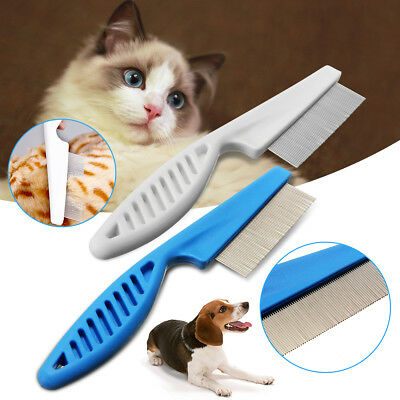 UK Pet Hair Flea Comb Shedding Grooming Puppy Cat Cleaning Stainless Pin Brush