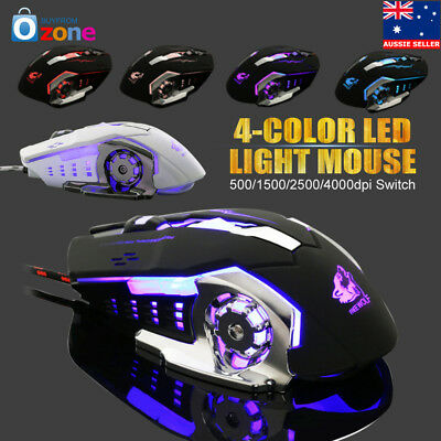 4000DPI Optical Wired LED Light Usb Ergonomic Pro Gamer Gaming Mouse Metal Plate