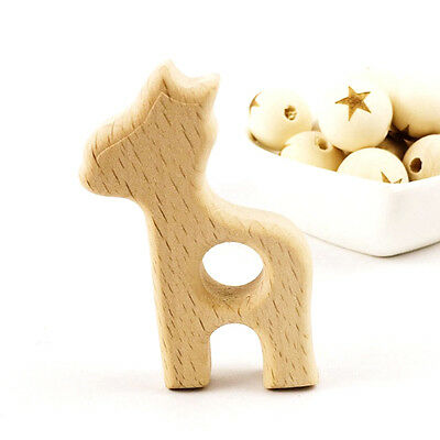 Giraffe Natural Eco Toy Organic Wooden Large Beads Teething Ring For Baby Kids