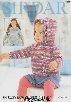 Sirdar 4777 Snuggly Baby Crofter Chunky Sweaters Original Knitting Pattern