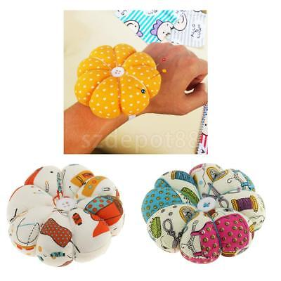 Pumpkin Fabric Sewing Needles Pin Cushion w/ Wrist Belt for Sewing Embroidery