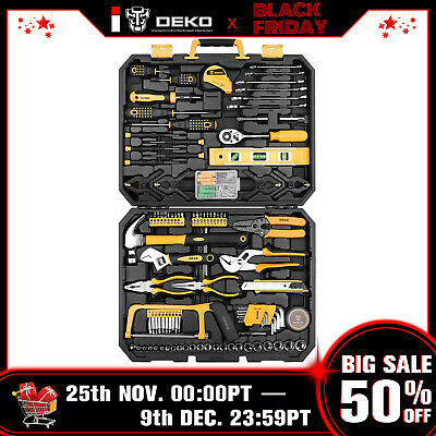 DEKO 168 Pcs Hand Tool Set General Household Kit with Wrench and Plastic ToolBox