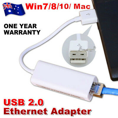 USB 2.0 to RJ45 LAN Ethernet Network Adapter 10/100Mbps PC Windows 10 8 7 MAC OS