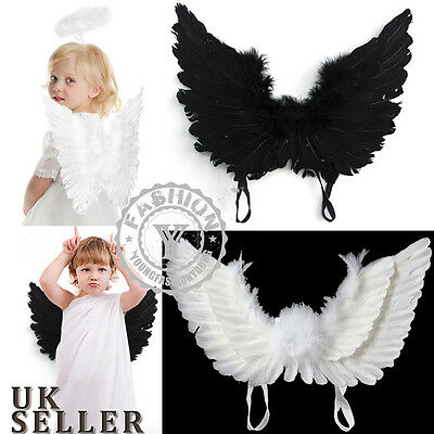 AU Kids Feather Angel Fairy Wings Party Fancy Dress Costume Cosplay Accessory
