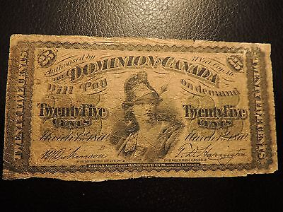 1870 Dominion Of Canada Shinplaster Paper 0.25 Twenty Five Cents Small B Letter