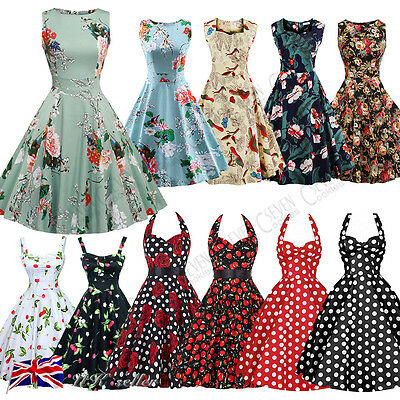 Christmas Women's Vintage Rockabilly Swing Dresses Retro Floral Cocktail Skirt