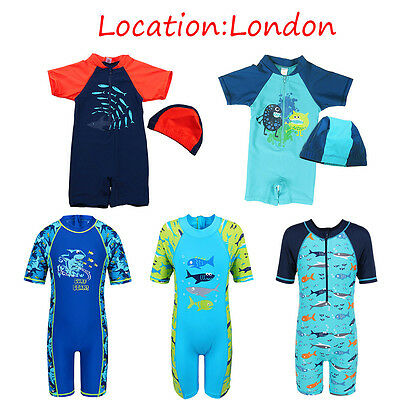Boys Whale Print Swimsuit 50+UV Protection Swimming Costume Rash Guard