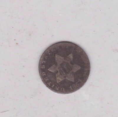 Usa 1853 Silver Three Cent In A Well Used Condition