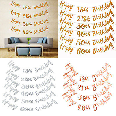 Gold Happy Birthday Bunting Banner 18th 21st 30th 40th 50th Party Decor 150CM UK
