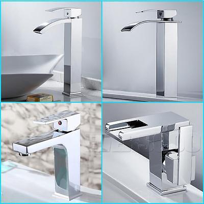 Modern Bathroom Basin Sink Mixer Tap Waterfall Basin Faucet Brass Chrome Tap Set