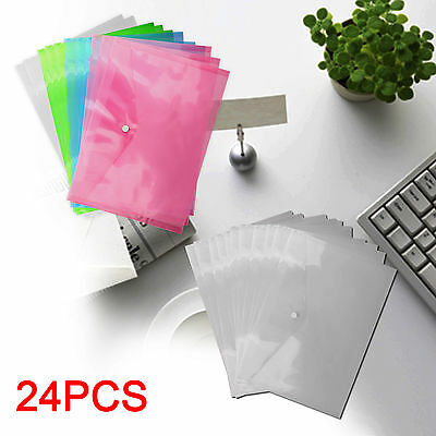 24 A4 Document Wallet Plastic Popper Mix&clear Stud Folders Filing Paper Storage