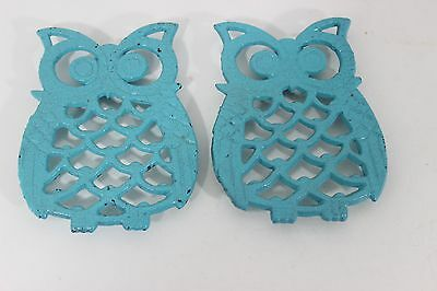 Lot of 2 Vintage Little Owl Metal Painted Teal Trivets SO ADORABLE!!