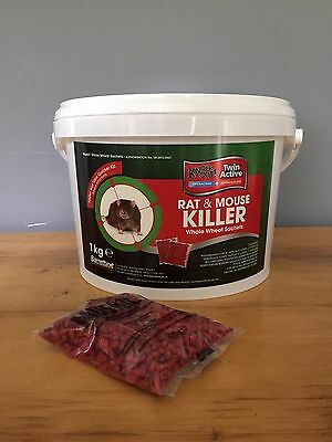 Barrettine Knockout 50g 1KG Twin active Rat and Mouse Killer Wholewheat Sachets