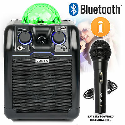 Bluetooth Karaoke Speaker System Built In Disco Light Party Black & Microphone