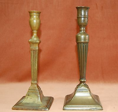 Two antique brass candlesticks - not a pair