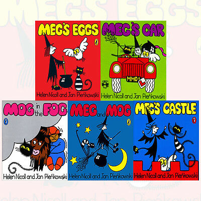 Meg and Mog Collection 5 Books Set By Helen Nicoll Meg's Eggs,Meg's Car,Meg's Ca