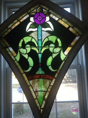 Large ANTIQUE stained glass window beautiful TAKEN FROM A CHURCH
